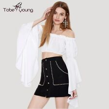 Sexy Women Off Shoulder Long Ruffle Sleeve Crop Top Blouse Tee Shirt Party Club