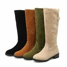 Womens Flats Knee High Boots Faux Suede Furry Winter Snow Round Toe Shoes Size