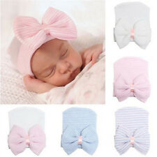 Lovely Newborn Baby Infant Girl Toddler Comfy Bowknot Hospital Cap Beanie Hat WB