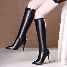 Sexy Women's Stilettos High Heel Pointy Toe Side Zip Knee High Boots Party Shoes