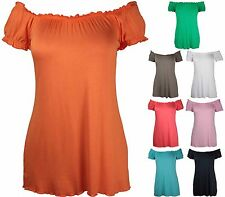 New Ladies Off Shoulder Gathered T-Shirt Tops Womens Gypsy Boho Top Plus Size