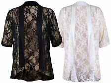 New Ladies Plus Size Floral Lace Cardigan Short Sleeve Womens Waterfall Top 1226