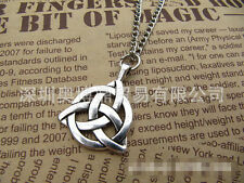 Celtic Triquetra Trinity Knot Pendant Silver bronze Plated Long Chain Necklace