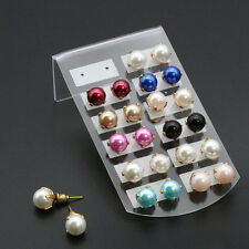 3Styles Korean Style Flower/Pearl/Crystal Button Ear Stud Earring Jewelry Gift