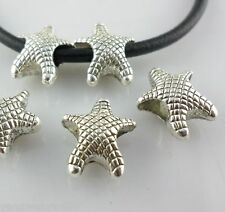 28/220pcs Tibetan Silver Hole:4.5mm Starfish Spacer Beads Crafts 12.5*14mm