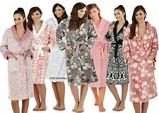 Luxury Soft Full Length Fleece Bath Robe Dressing Gown with Belt Girls Ladies