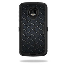 Skin Decal Wrap for OtterBox Defender Moto Z Force Droid Black Diamond Plate