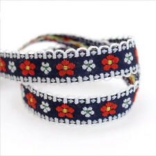 5 Yard Embroidery Flower Jacquard Ribbon Braid Trim Craft For Choker Necklace