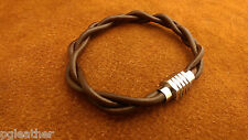 Leather Bracelet Stainless Steel Magnetic Clasp Brown Leather Men's Bracelet