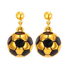 New Football Shaped Drop Dangle Earrings 18K Gold Plated Stainless Steel Jewelry