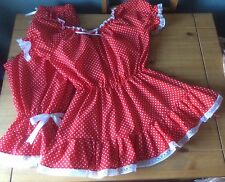 Fancy dress Victorian swim costume,red spotty bloomers, top and mopp cap