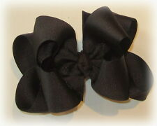 Brown Double Layered Hair Bow Boutique Spikey Baby Girls Toddler Big Hairbows