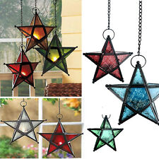 Star Wrought Iron Hanging Tealight Candle Lantern Holder Metal Glass Panel Hot
