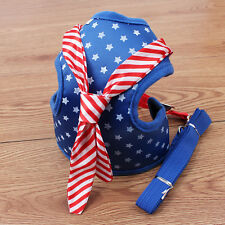 Breathable Mesh Padded Puppy Pet Dog Harness for Small Dogs Star Print Blue