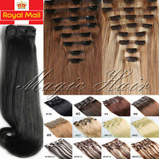 BEST Clip In Remy Human Hair Extensions Full Head Double Weft Thick 200Gram U572