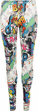 New Womens Comic Cartoon Print Ladies Full Length Long Ankle Leggings Pants