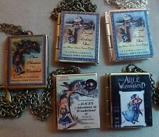 Alice in Wonderland & Through the Looking Glass book charm LOCKET necklace