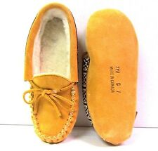 Children's Indian Tan Suede Indoor Moccasins Girls Multiple Sizes Made In Canada