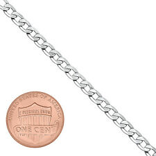 4mm Men/Women White Gold Silver Plated/Layered/Plated Flat Cuban Link Curb Chain