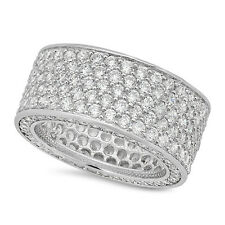 Men's Micro Pave Silver Plated Bling Hip Hop CZ Iced Out Band Ring Size 7-12