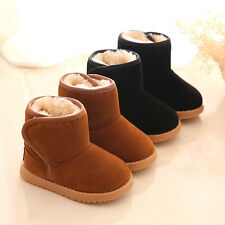 Kids Children Winter Warm Snow Boots Boys Girls Fur Lining Booties Casual Shoes