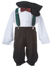 Kids Holiday Knicker Set with Forest Green Suspenders & Plaid Christmas Bow Tie