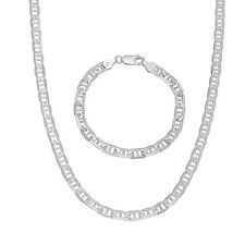 Mens 5.5mm 925 Sterling Silver Diamond-Cut Mariner Chain & Bracelet Set