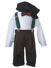 NEW Boys Holiday Knicker Set with Forest Suspenders and Checkered Bow Tie, K920