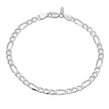 Solid 925 Sterling Silver 4.5mm Figaro Chain Bracelet Made in Italy