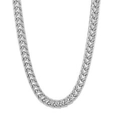 Men's 5 mm Rhodium Plated Silver Look 3D Franco Long Hip Hop Foxtail Neck Chain