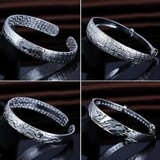 New Fashion Elegant Women Plated Cuff Bangle Chain 925 Silver Bracelet Jewelry