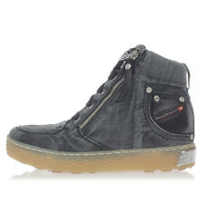 DIESEL New Woman black Denim Cotton high Sneakers shoes NWT