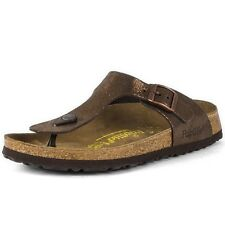 Birkenstock Gizeh Suede Shiny Womens Sandals Brown New Shoes