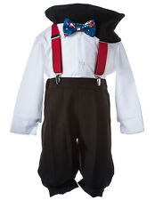 NEW Boys Holiday Knicker Set with Red Suspenders and Blue Santa Claus Bow Tie