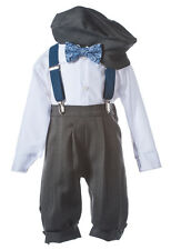 Infant Toddler Boys Grey Knicker Set with Blue Suspenders and Paisley Bow Tie