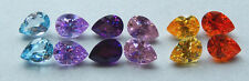 7x10 mm Pear Shaped  Cubic Zirconia  Colored Stones  ONE PAIR - assorted colors