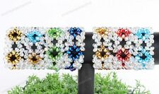 Womens Crystal Glass Faceted Flower Rondelle Bead Strecthy Wide Bracelet Bangle