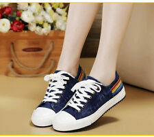 Womens Round Toe Casual Fashion Sneakers Low Top Lace Up Canvas Shoes Size