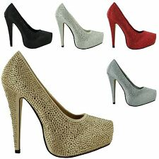 WOMENS CONCEALED PLATFORM LADIES PARTY STILETTO HIGH HEELS COURT SHOES SIZES 3-8