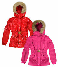Girls Padded Fur Trimmed Winter Coat New Kids Warm Puffa Jackets Ages 3-12 Years