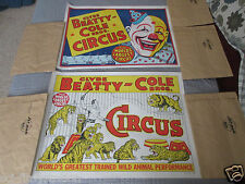 2 CLYDE BEATTY & COLE BROS, CIRCUS POSTERS, (CLOWN & LION TAMER)
