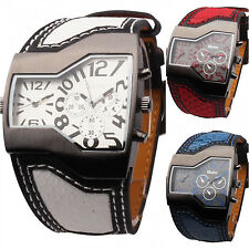 New Men OULM Military Army Two Time Zone Movement Sport Quartz Watch Leather