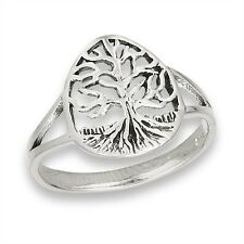 TREE OF LIFE Outline Celtic Motif Sterling Silver Jewelry 925 Size 5-9