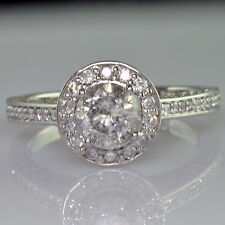 Round Cut Halo set Diamond GIA 2.92 Carat total Engagement Ring Antique Style