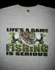 Lifes a Game Fishing Is Serious T Shirt Bass Catfish Trout Lure Rod Boat Angler