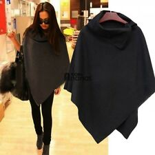 Womens Wool Poncho Winter Jacket Coat Ladies Warm Loose Cloak Cape Parka AN18