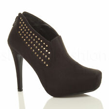 WOMENS LADIES HIGH HEEL ZIP GOLD STUDDED PLATFORM ANKLE SHOE BOOTS BOOTIES SIZE