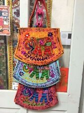 EMBROIDERED HAND BAG SHOPPING BAG EVENING PURSE TOTE  SILK BLEND INDIA hand made