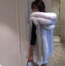 Womens Faux  Fur Winter Coat Vest Coat Hooded Long Fur Parka Jacket