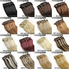 8pcs 100g 16''~24'' Clip In 100%Real Human Hair Extensions Remy Hair Full Head